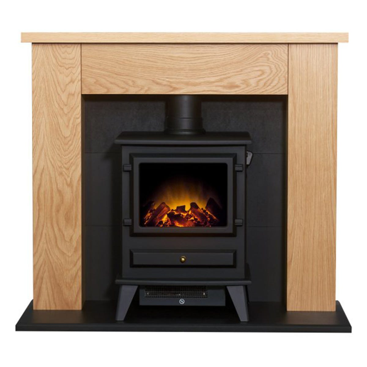 Adam Chester Stove Fireplace in Oak & Black with Hudson Electric Stove in Black 39 Inch