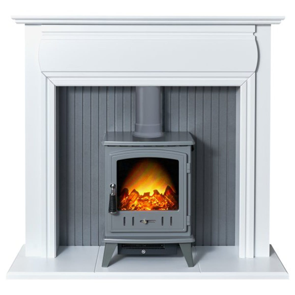 Adam Florence Stove Fireplace in Pure White with Aviemore Electric Stove in Grey Enamel 48 Inch
