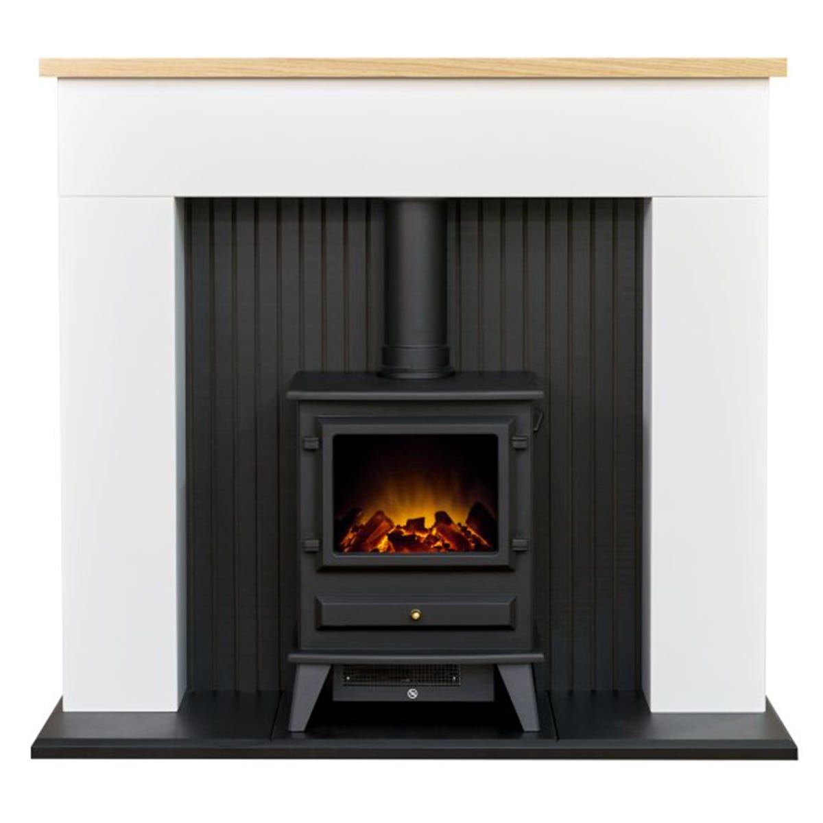 Adam Innsbruck Stove Fireplace in Pure White with Hudson Electric Stove in Black 48 Inch