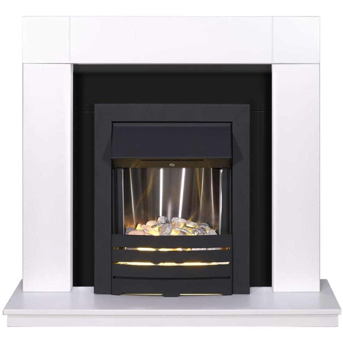 Adam Malmo Fireplace in Pure White & Black/White with Helios Electric Fire in Black 39 Inch