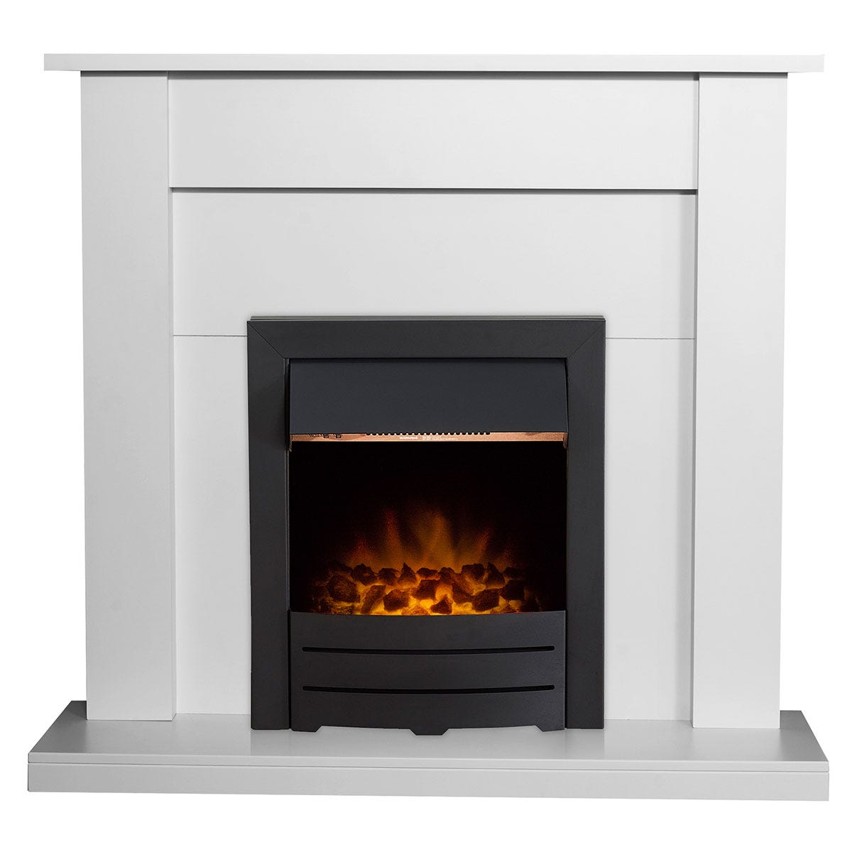 Adam Sutton Fireplace in Pure White with Colorado Electric Fire in Black 43 Inch