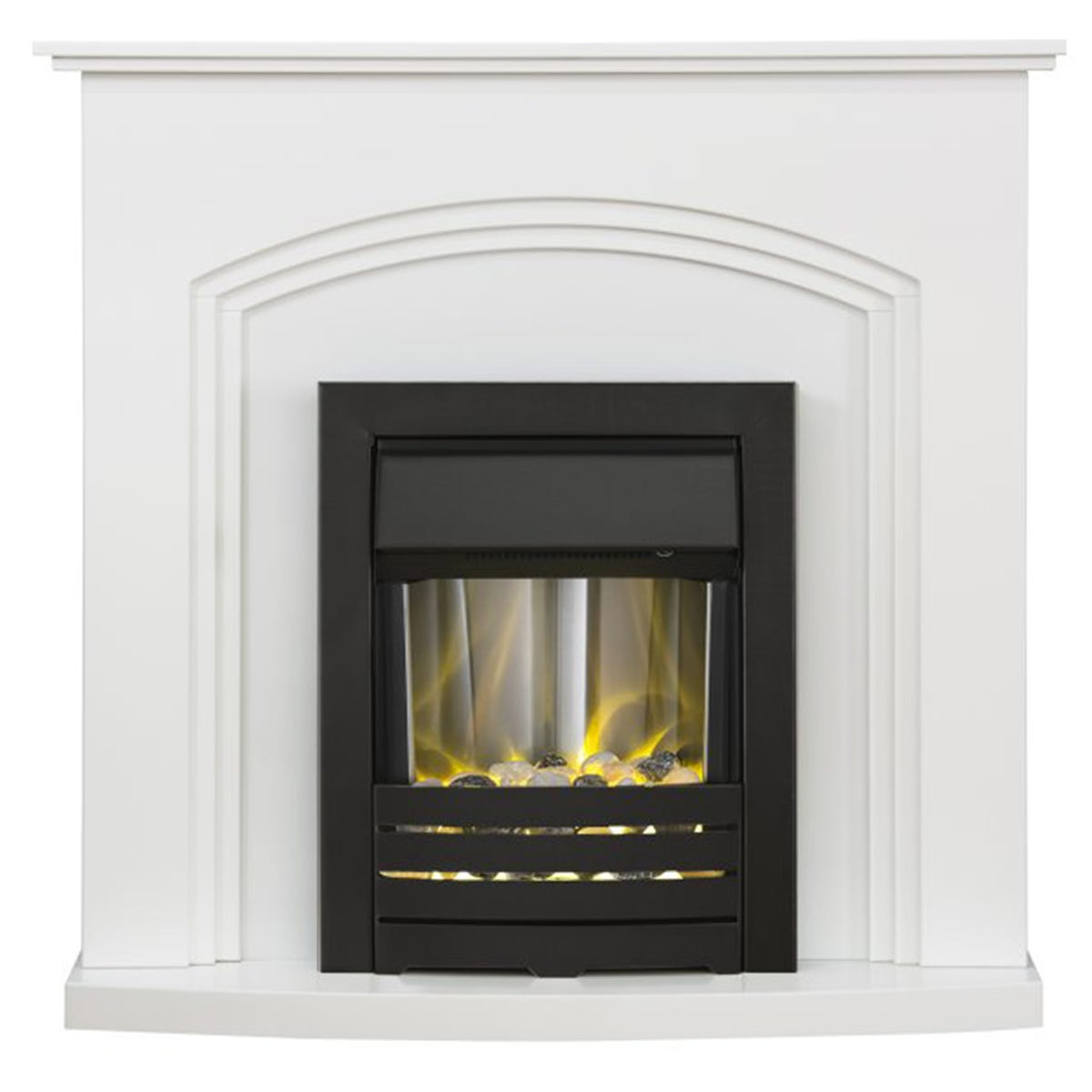 Adam Truro Fireplace in Pure White with Helios Electric Fire in Black 41 Inch