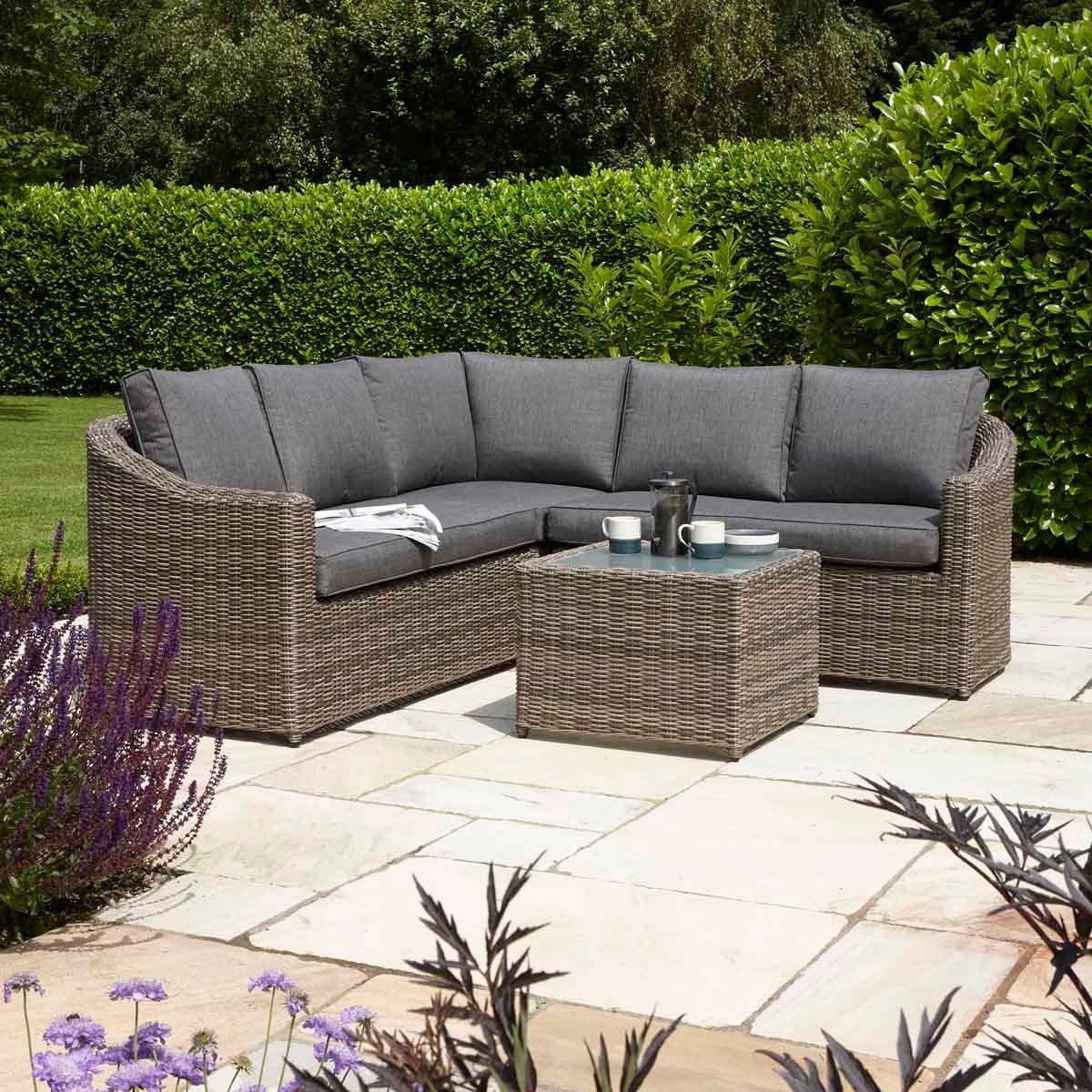 Rowlinson Bunbury Rattan Corner Sofa Set - Natural/Grey