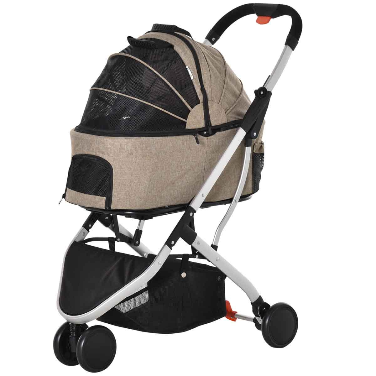 PawHut 2-in-1 Foldable Pet Stroller/Carrying Bag - Brown