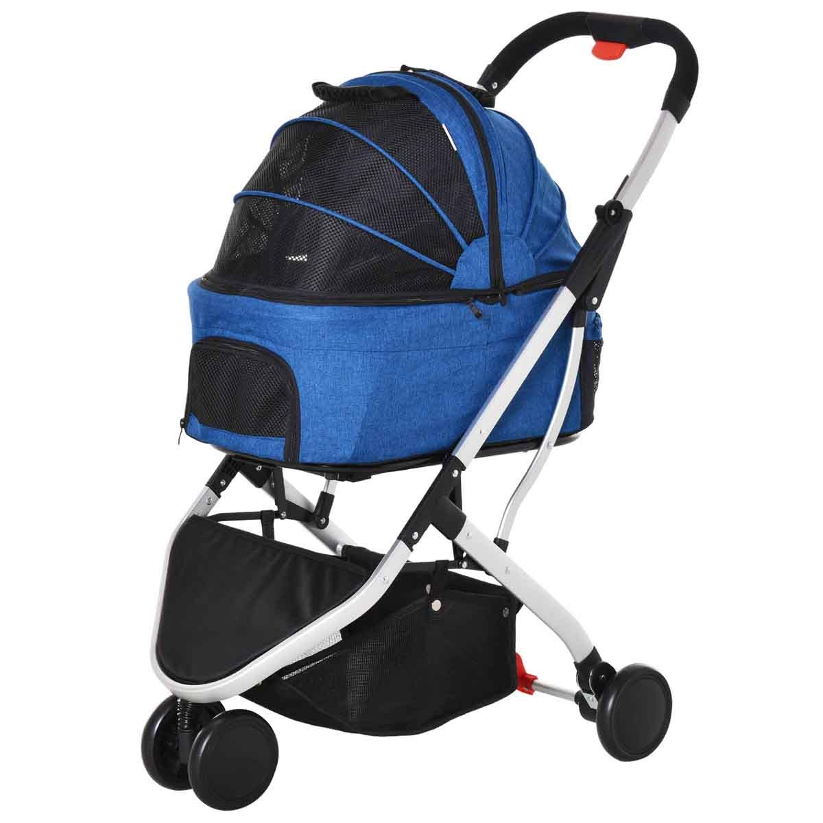 PawHut 2-in-1 Foldable Pet Stroller/Carrying Bag - Blue