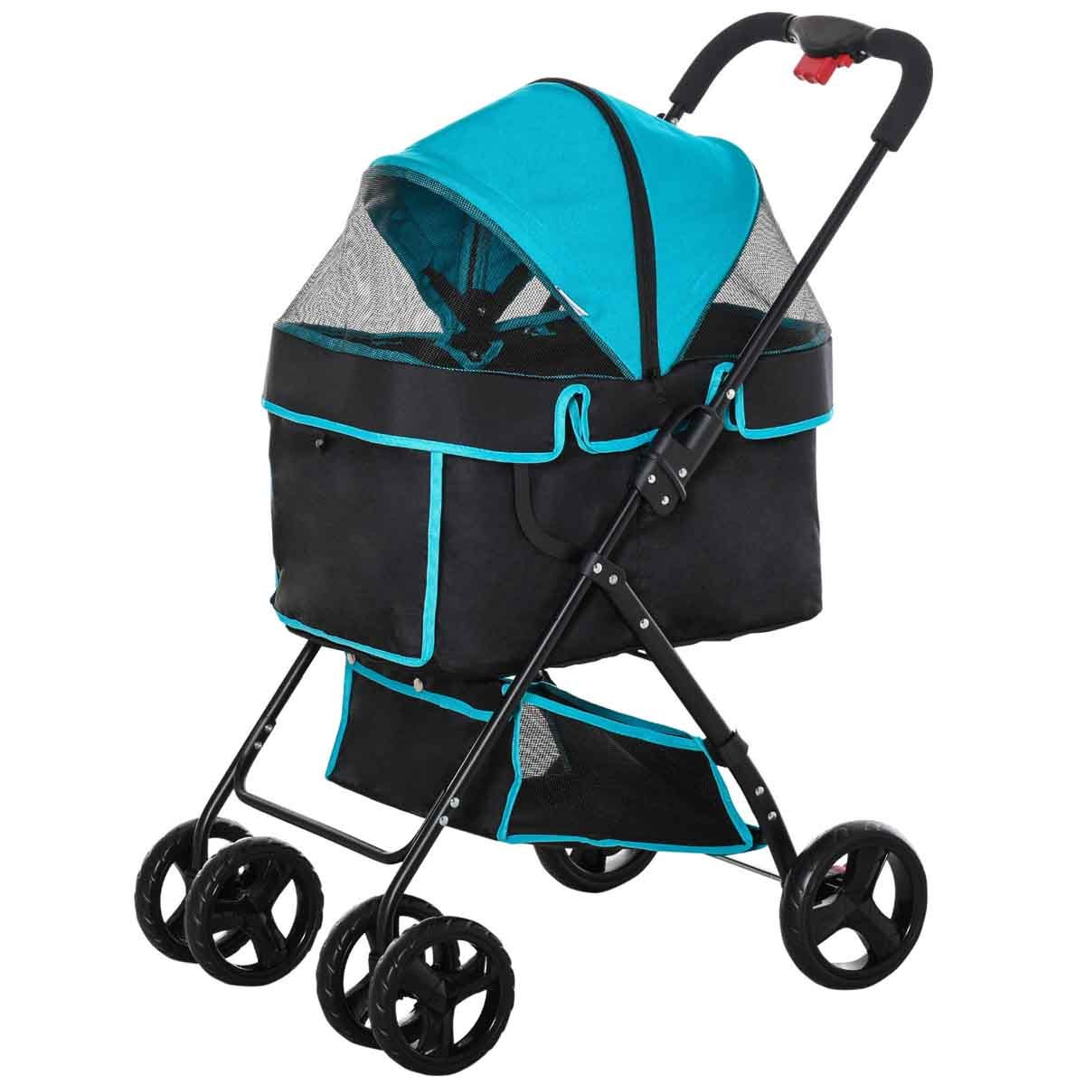 PawHut Foldable Pet Stroller/Basket Carriage w/Brake - Black