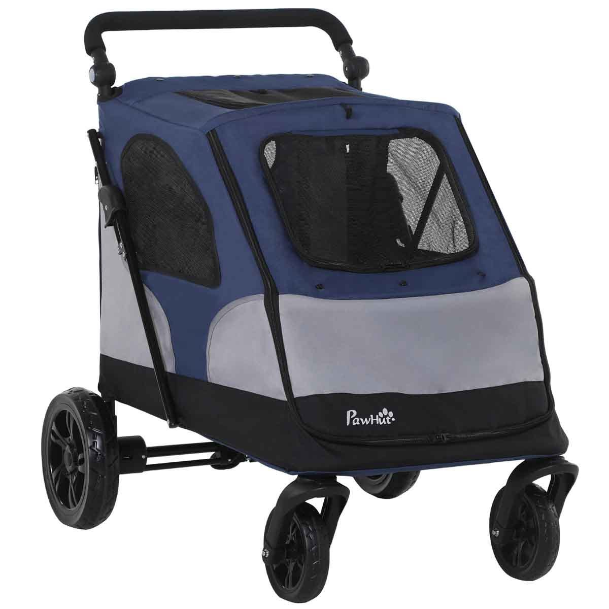 PawHut Pet Stroller Dog Foldable Travel Carriage with Adjustable Handle - Blue
