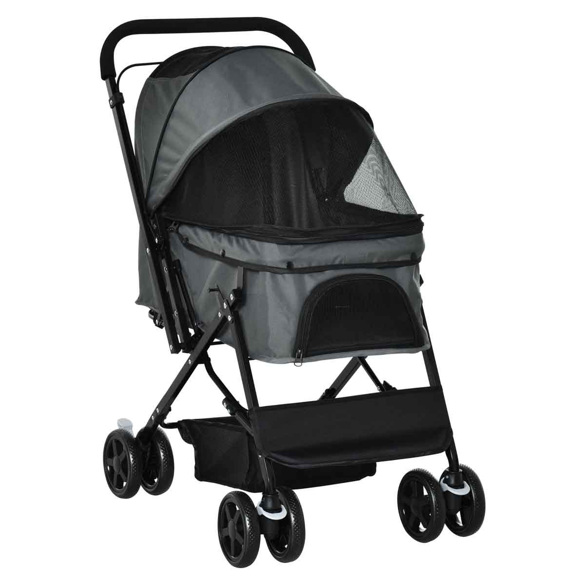 PawHut Pet Foldable Stroller/Travel Carriage with Reversible Handle - Grey