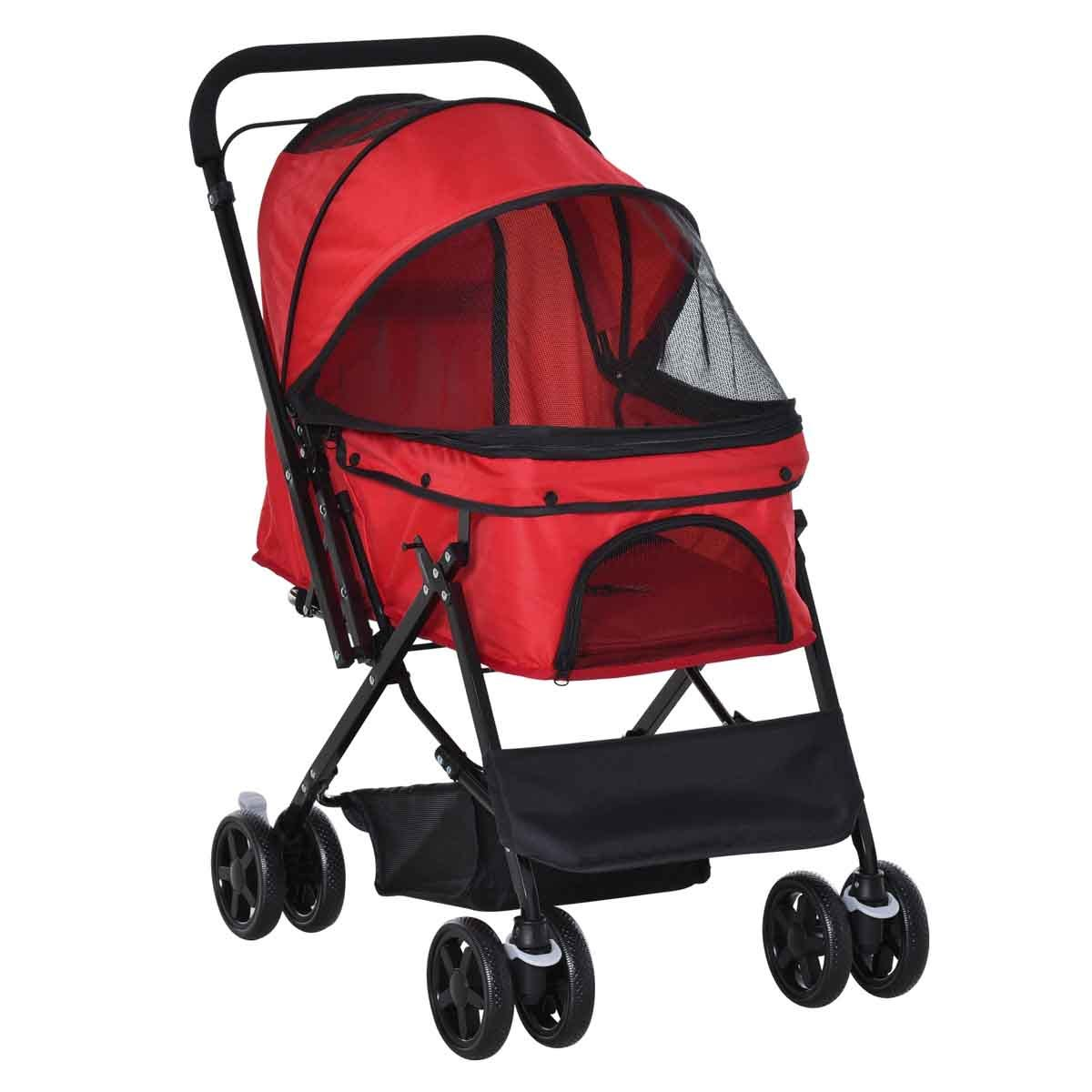 PawHut Pet Foldable Stroller/Travel Carriage with Reversible Handle - Red