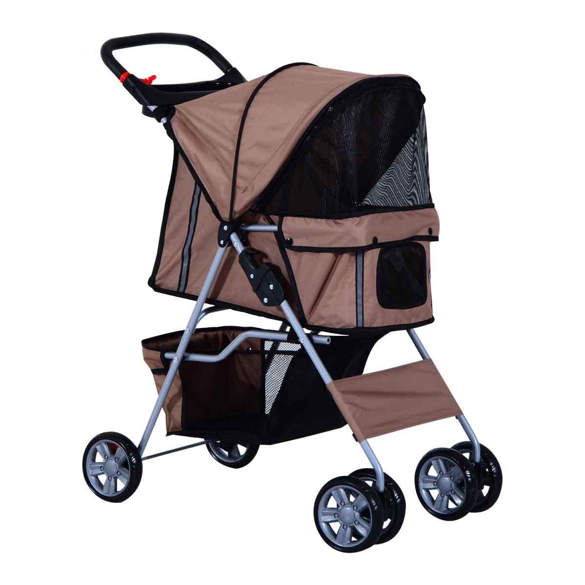 PawHut Foldable 4 Wheels Deluxe Pet Stroller & Carrier For Travel W/ Dogs & Cats - Brown