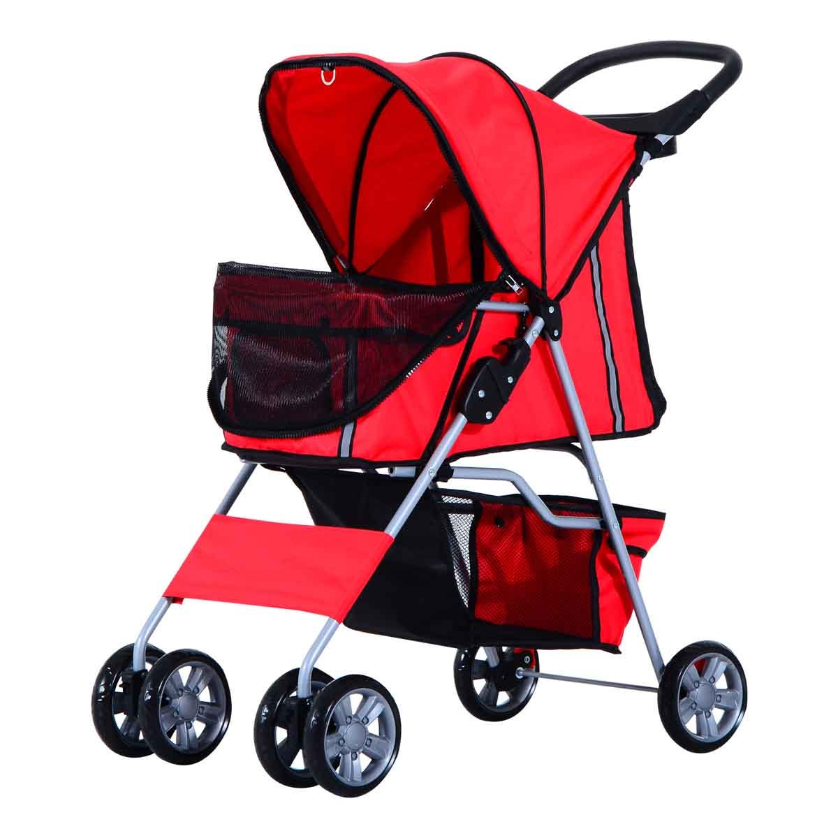 PawHut Foldable 4 Wheels Deluxe Pet Stroller & Carrier For Travel W/ Dogs & Cats - Red