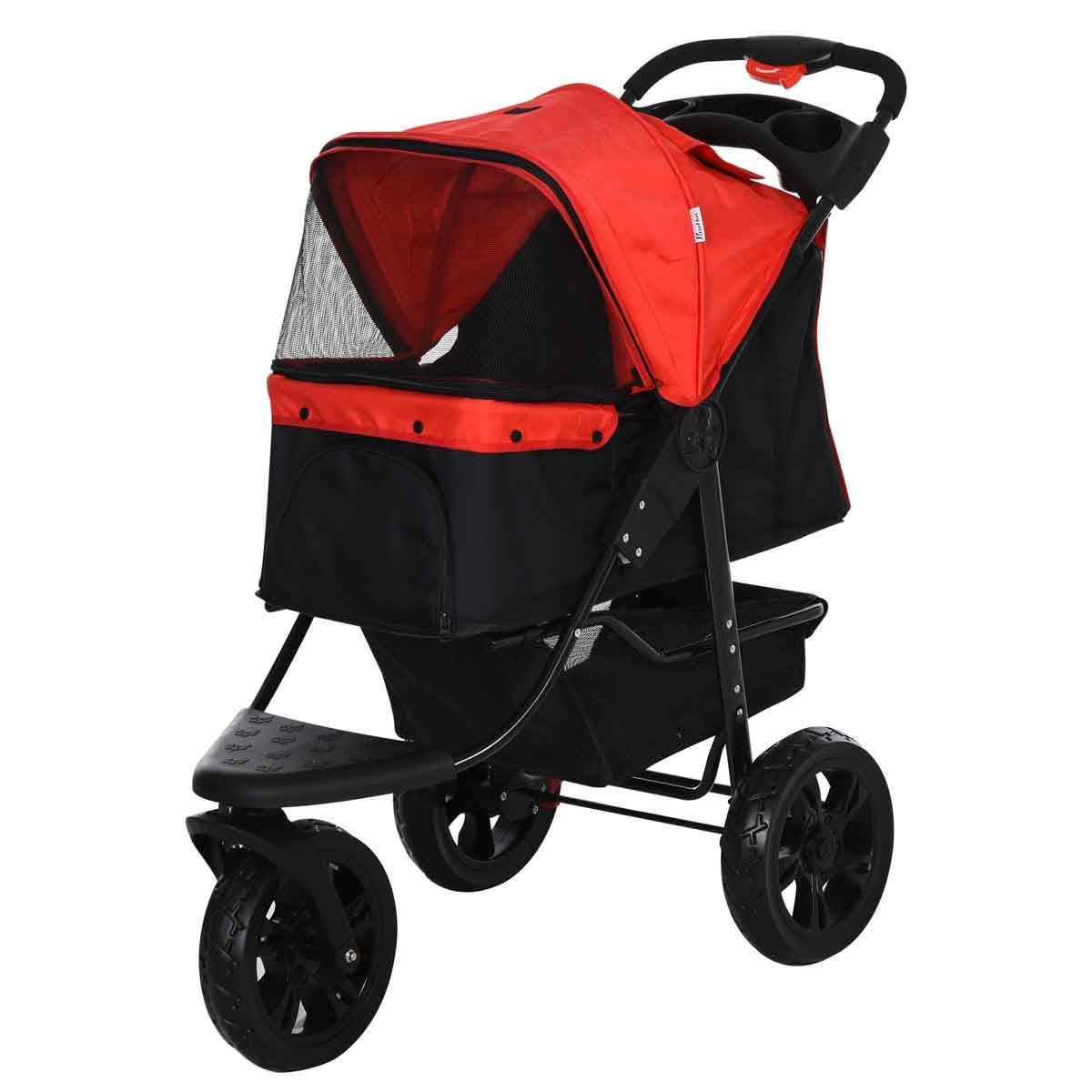 PawHut Folding 3 Wheel Pet Stroller for Travel w/ Adjustable Canopy & Storage - Red & Black