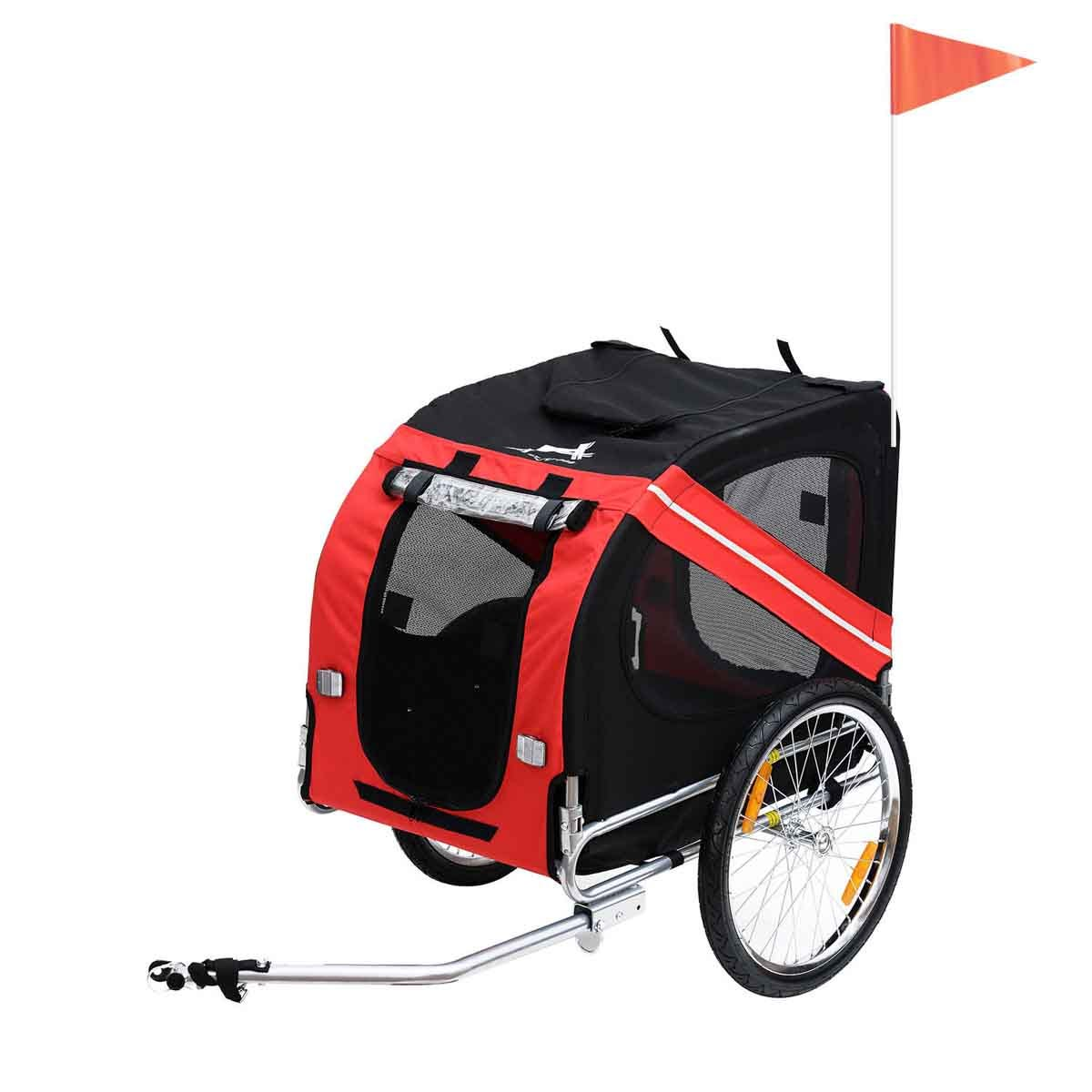 PawHut Bicycle Pet Trailer Dog W/ Folding Stroller & Carrier Cycle Luggage - Red&Black