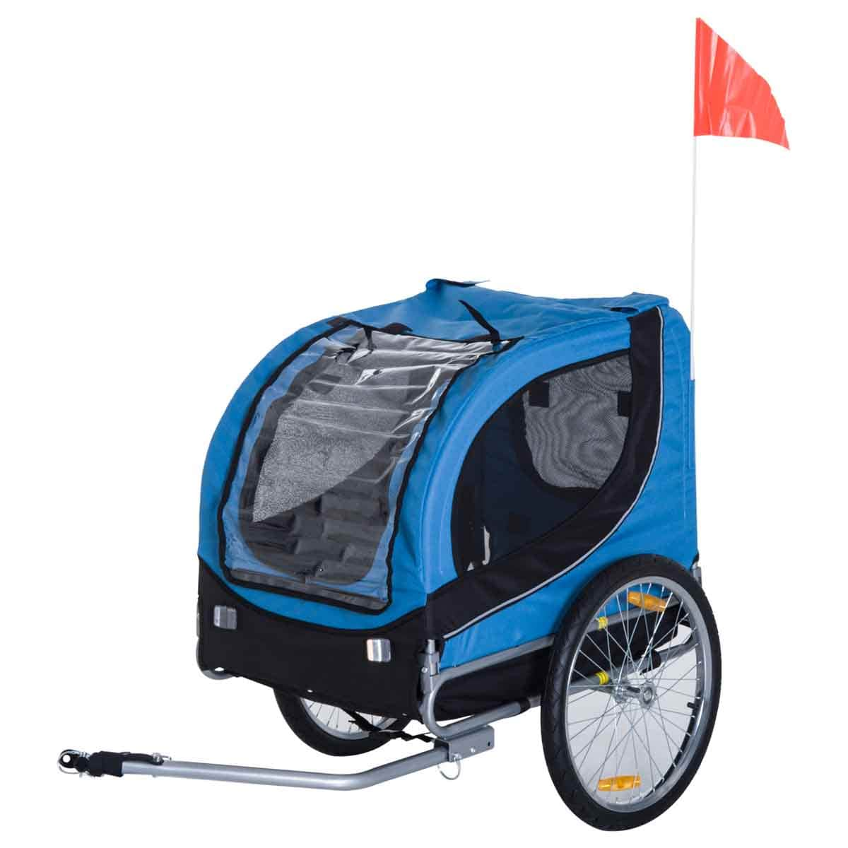 PawHut Pet Bike Fold Stroller W/ Double Wheel and Removable Cover - Black & Blue