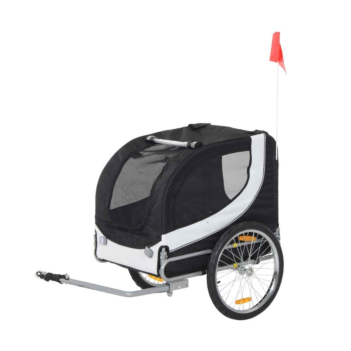 PawHut Pet Dog Stroller Folding Bike & Cargo Trailer/ Carrier - Black & White