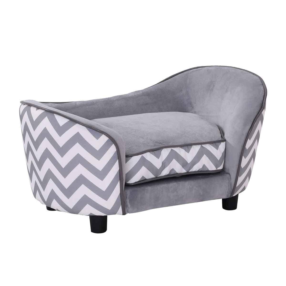 PawHut Pet Sofa W/ Comfortable Wooden Enchanted Plush Foam & Luxury Cushion - Grey