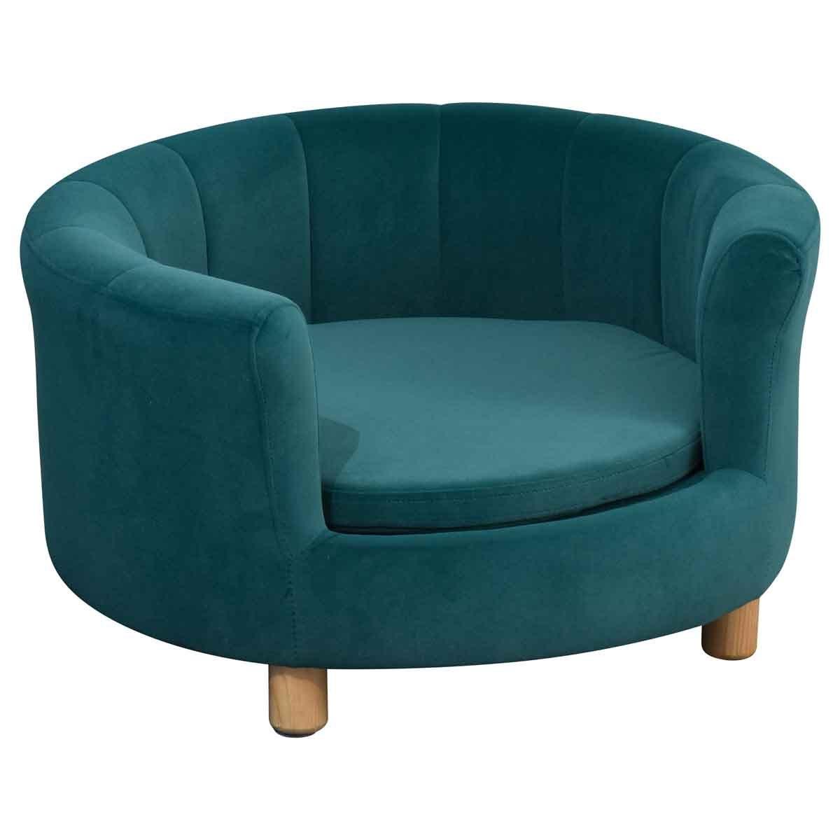 PawHut Modern Nest Shape Cat/Dog Sofa w/Loop Wrapped Backrest - Green