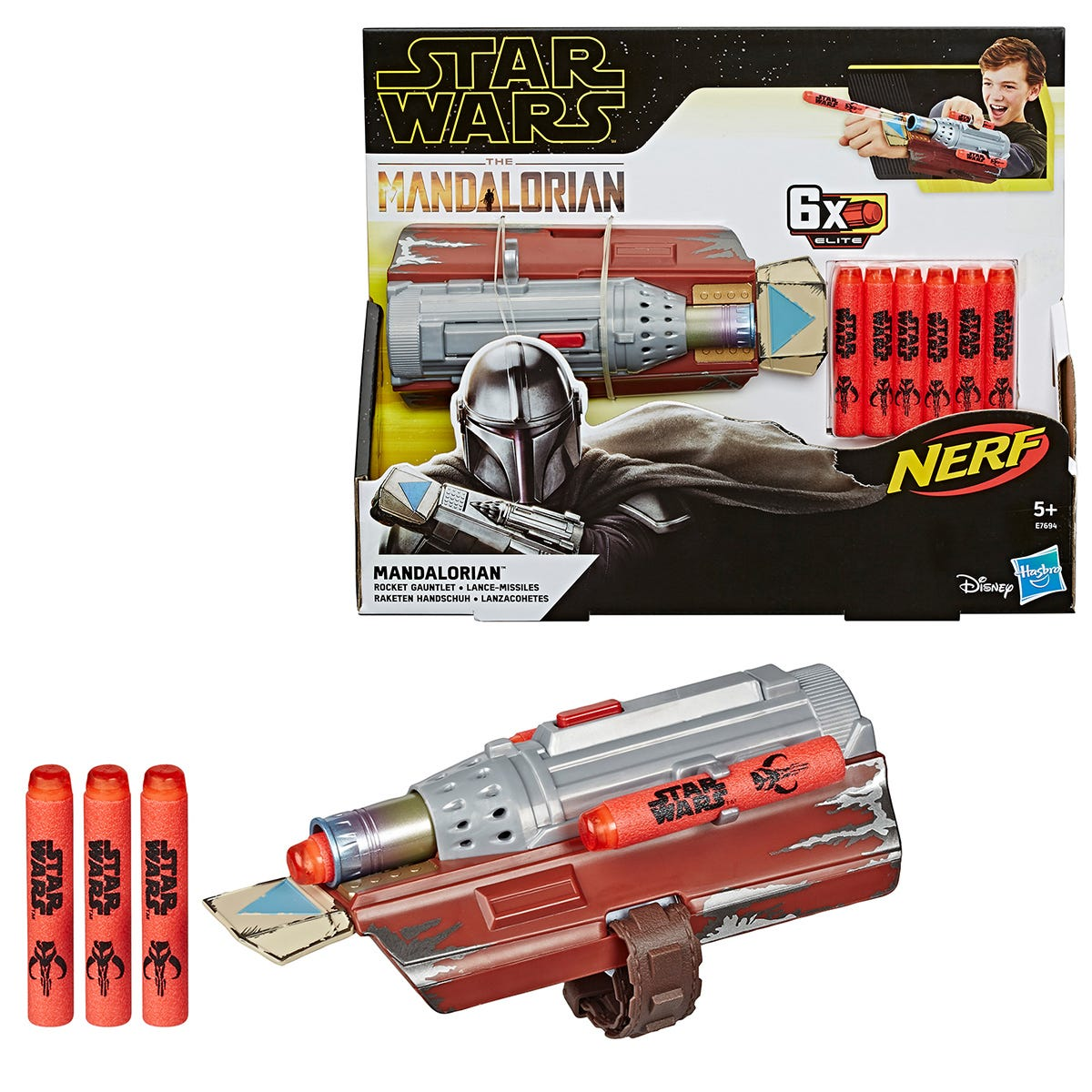 Nerf Star Wars Role Play Mandalorian Rocket Gauntlet with 6 Darts
