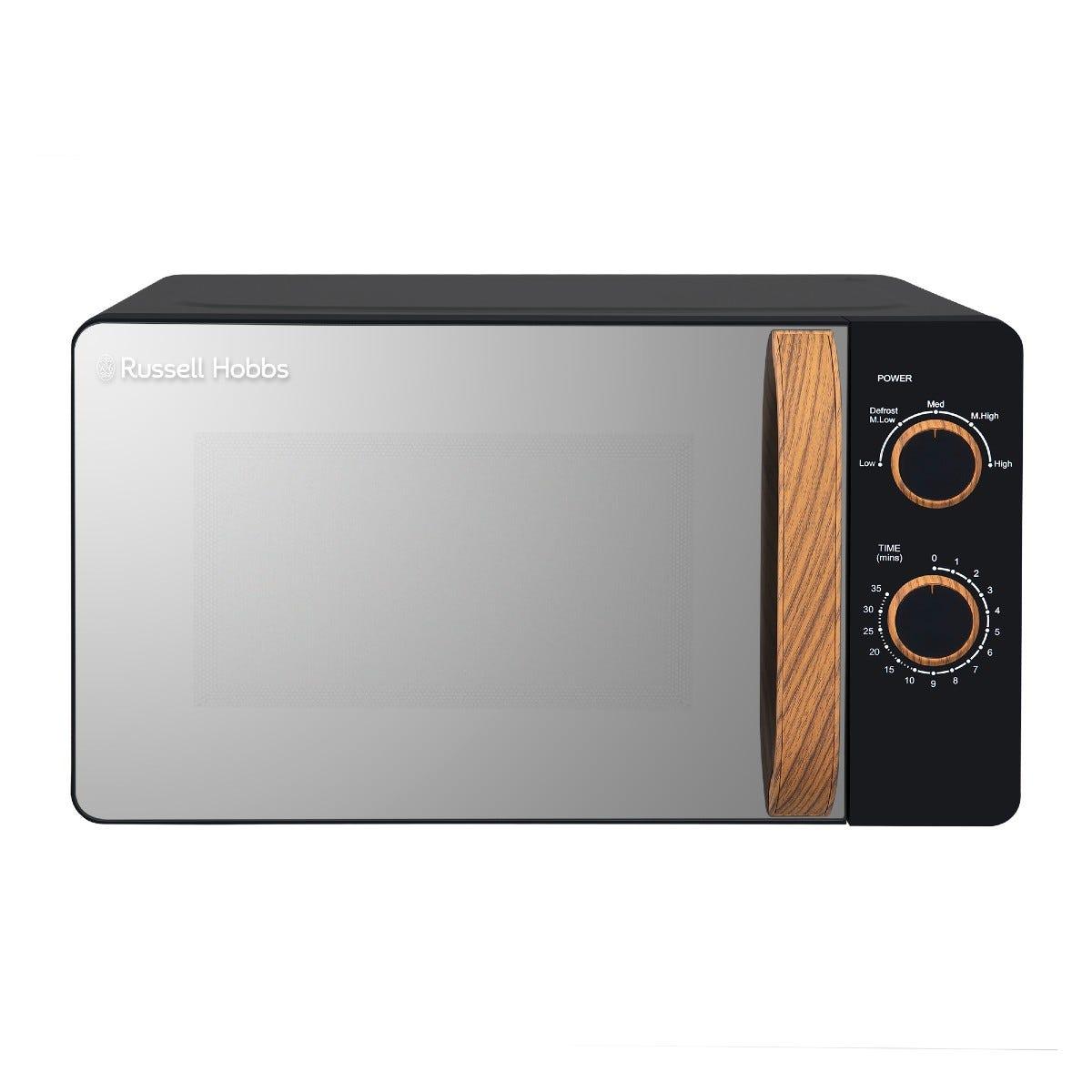 Russell Hobbs RHMM713B-N Scandi 17L 700W Manual Microwave - Black with Wooden Effect Handle