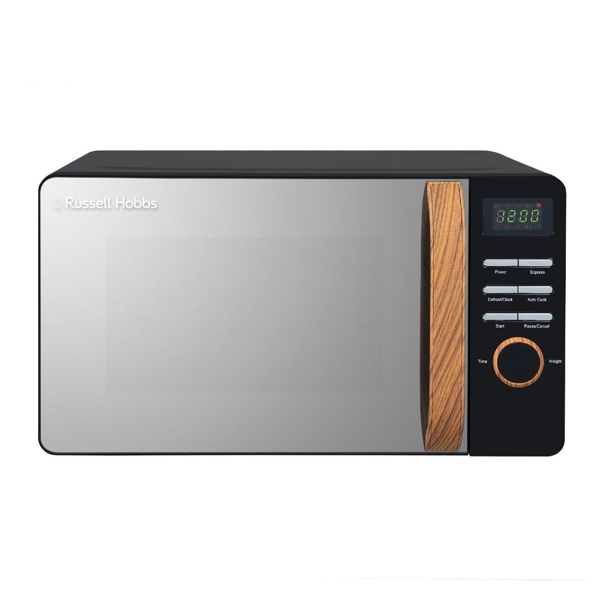Russell Hobbs RHMD714B-N Scandi 17L 700W Digital Microwave - Black with Wooden Effect Handle