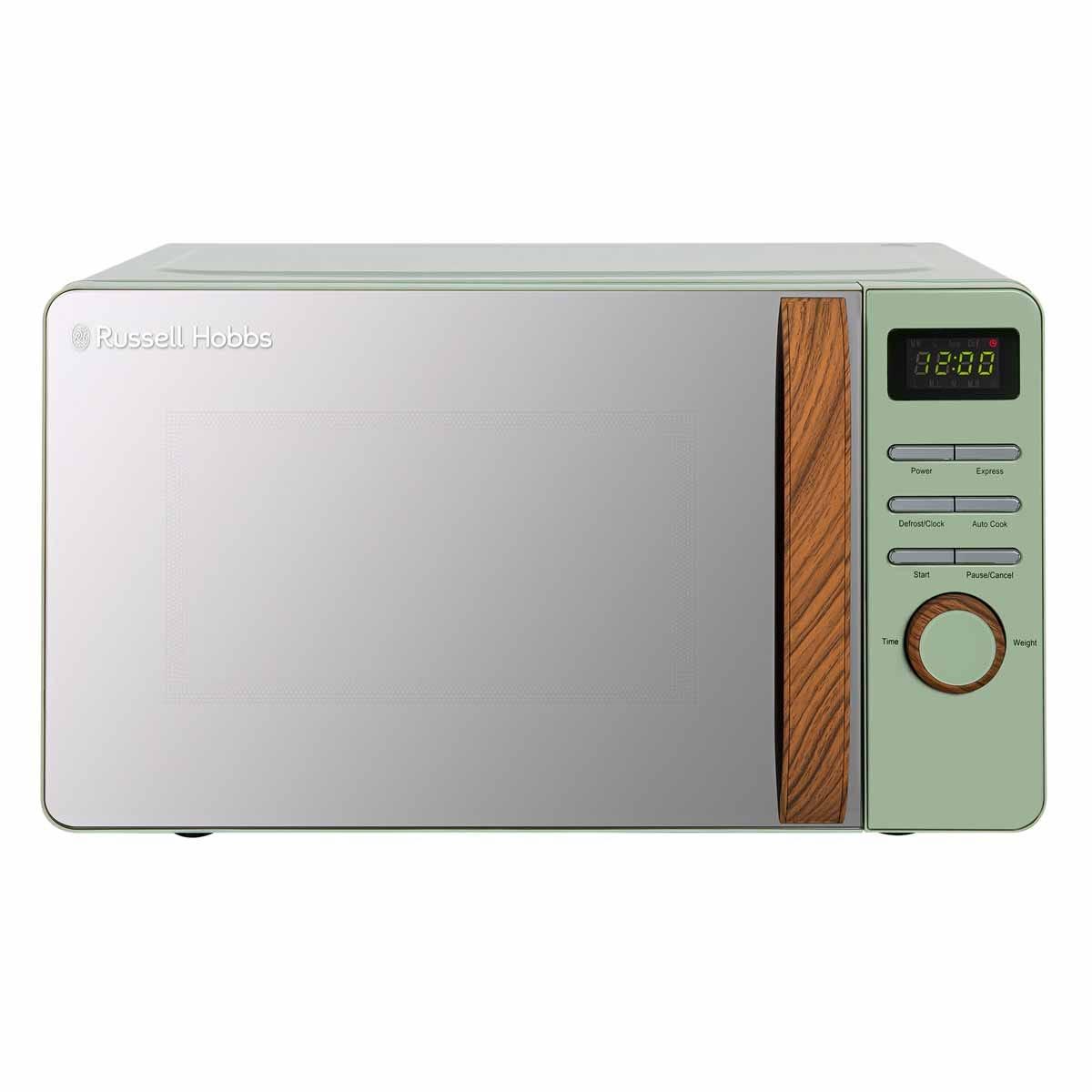 Russell Hobbs RHMMD714MG-N 17L 700W Digital Microwave - Matt Green with Wooden Effect Handle