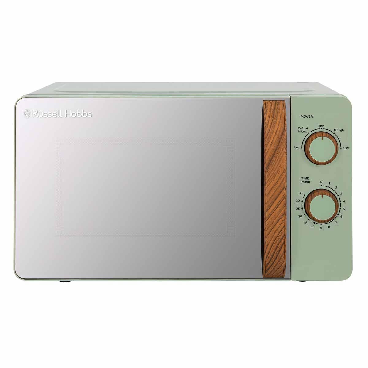 Russell Hobbs RHMM713MG-N 17L 700W Manual Microwave - Matt Green with Wooden Effect Handle