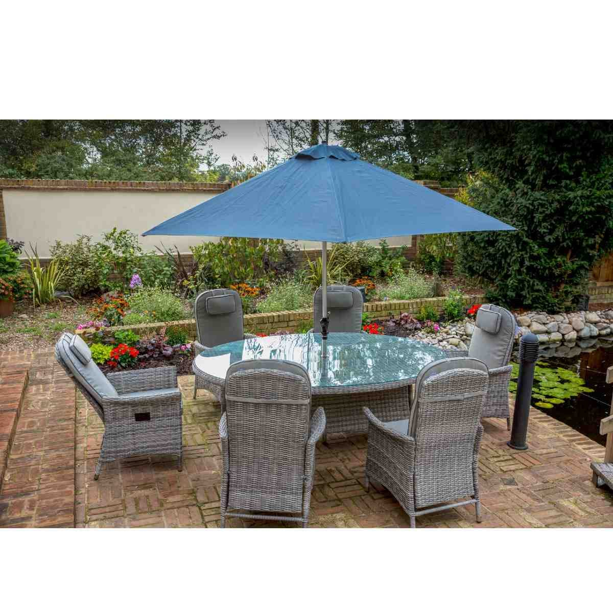 Katie Blake Flamingo 6 Reclining Chair Dining Set with 1.2m x 1.75m Oval Table Parasol & Base - Grey / Blue