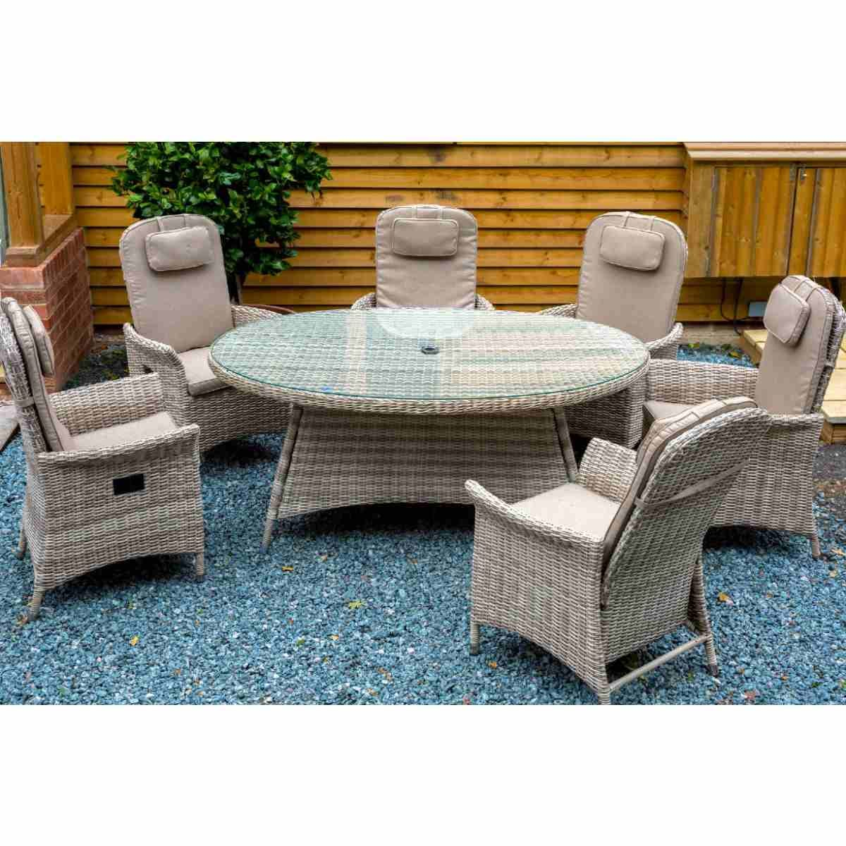 Katie Blake Flamingo 6 Reclining Chair Dining Set with 1.2m x 1.75m Oval Table Parasol & Base - Natural / Taupe