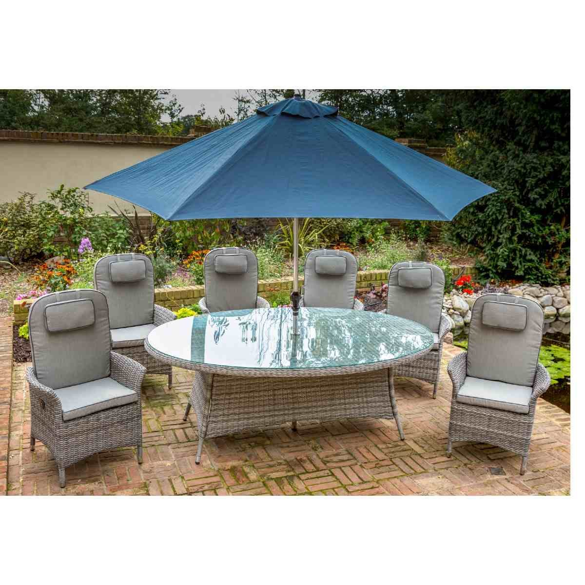 Katie Blake Flamingo 6 Reclining Chair Dining Set with 1.45m x 2.1m Oval Table Parasol & Base - Grey / Blue