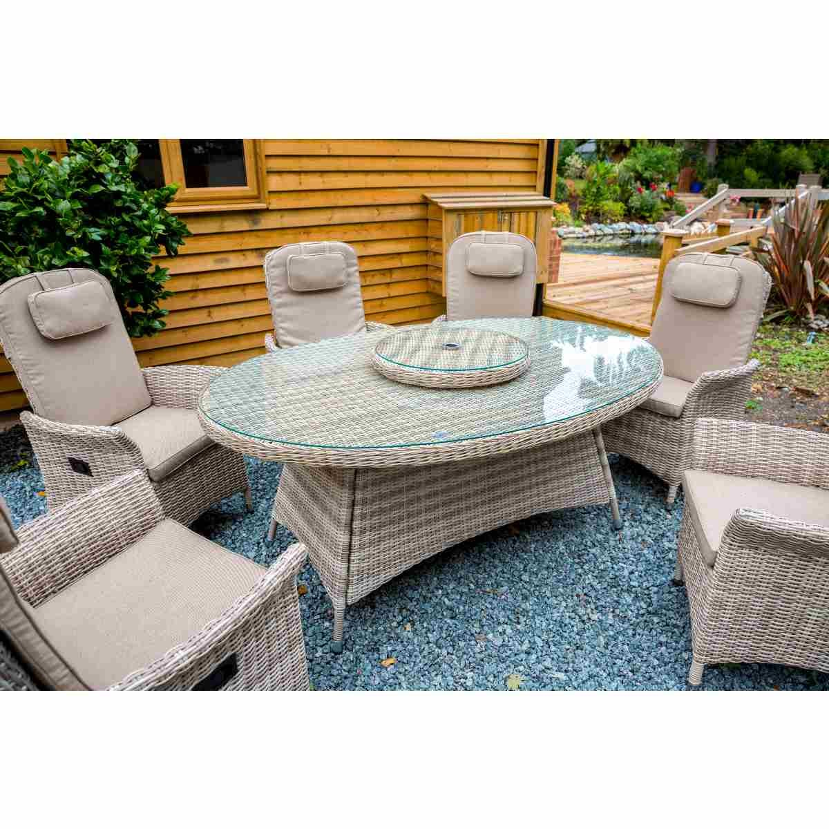 Katie Blake Flamingo 6 Reclining Chair Dining Set with 1.45m x 2.1m Oval Table Parasol & Base - Natural / Taupe