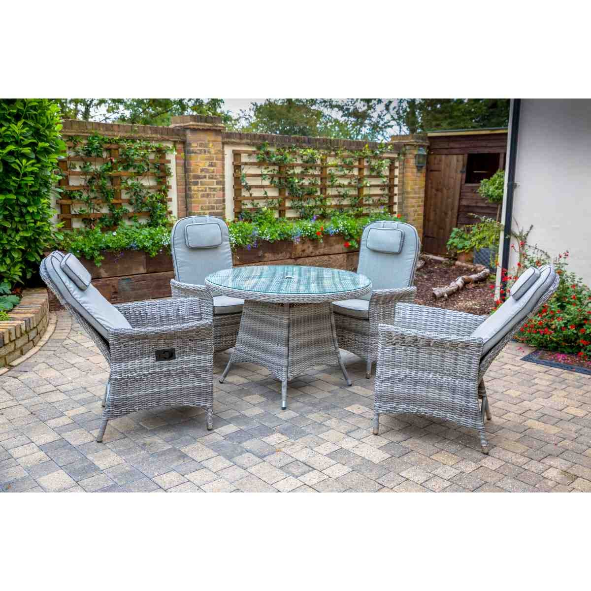 Katie Blake Flamingo 4 Reclining Chair Dining Set with 1.2m Round Table Parasol & Base - Grey / Blue