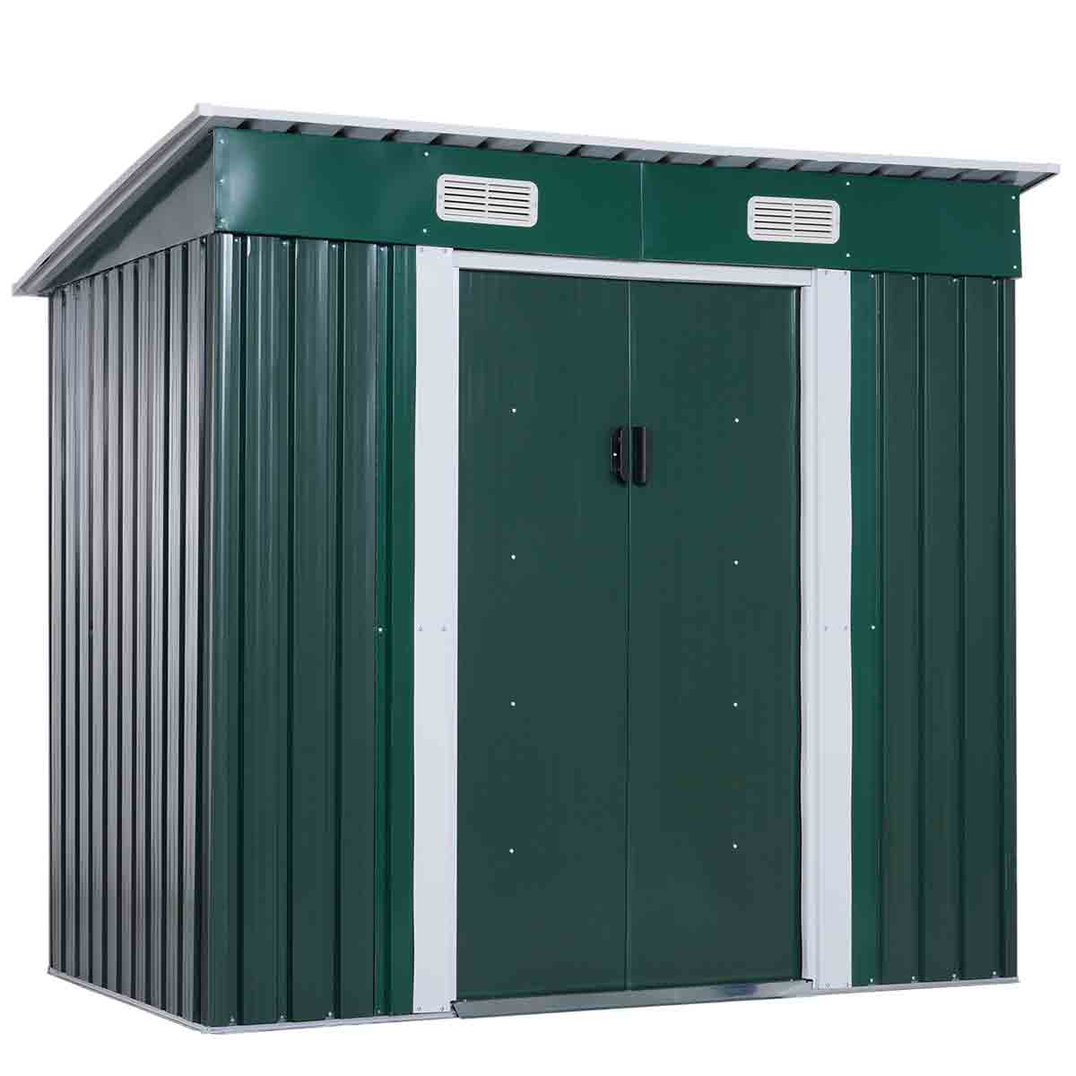 Outsunny 6' x 3' 6'' Metal Lockable Pent Storage Shed - Green
