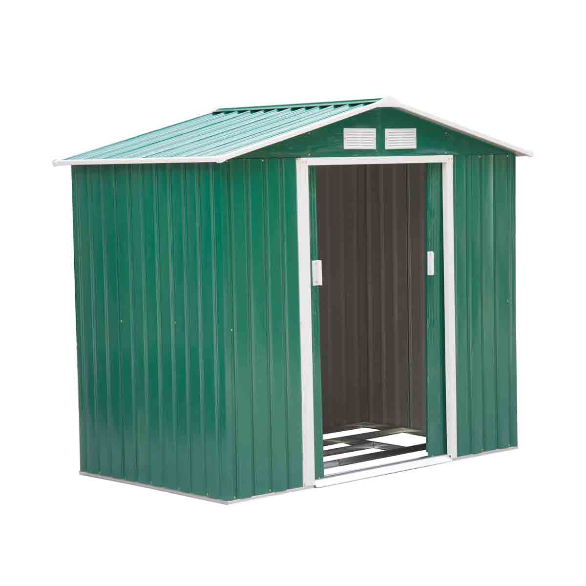 Outsunny 7' x 4' Metal Apex Storage Shed - Green