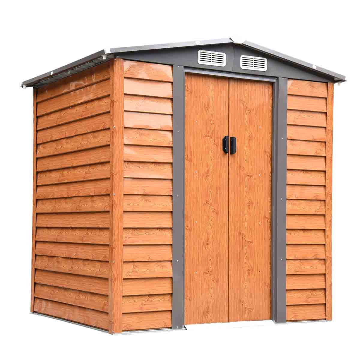 Outsunny 6' 5'' x 5' 2''Metal Wood Effect Apex Storage Shed w/ Sliding Door - Brown