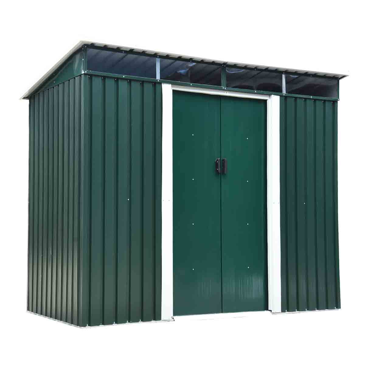 Outsunny 8' 4'' x 4' 4'' Metal Pent Storage Shed - Green