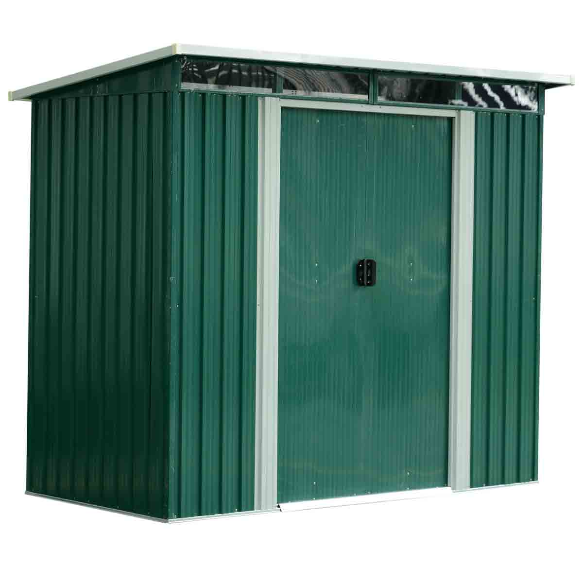Outsunny 8' x 6' Metal Heavy Duty Pent Storage Shed - Green