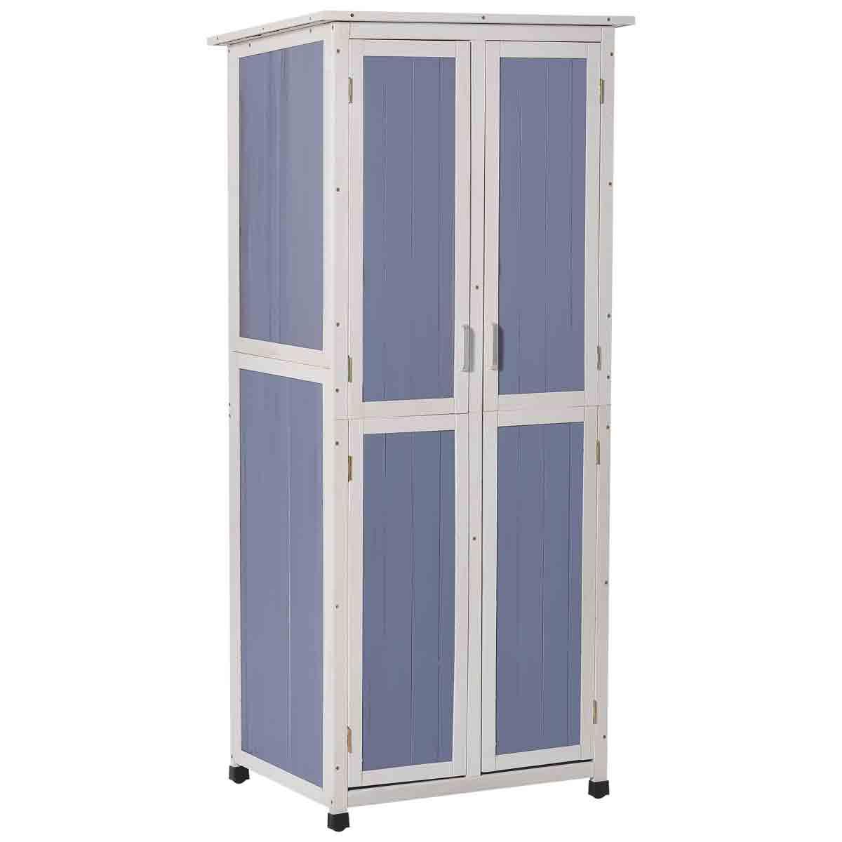 Outsunny 2' 6'' x 1' 10'' Wooden 3-Tier Garden Storage Cabinet - Blue