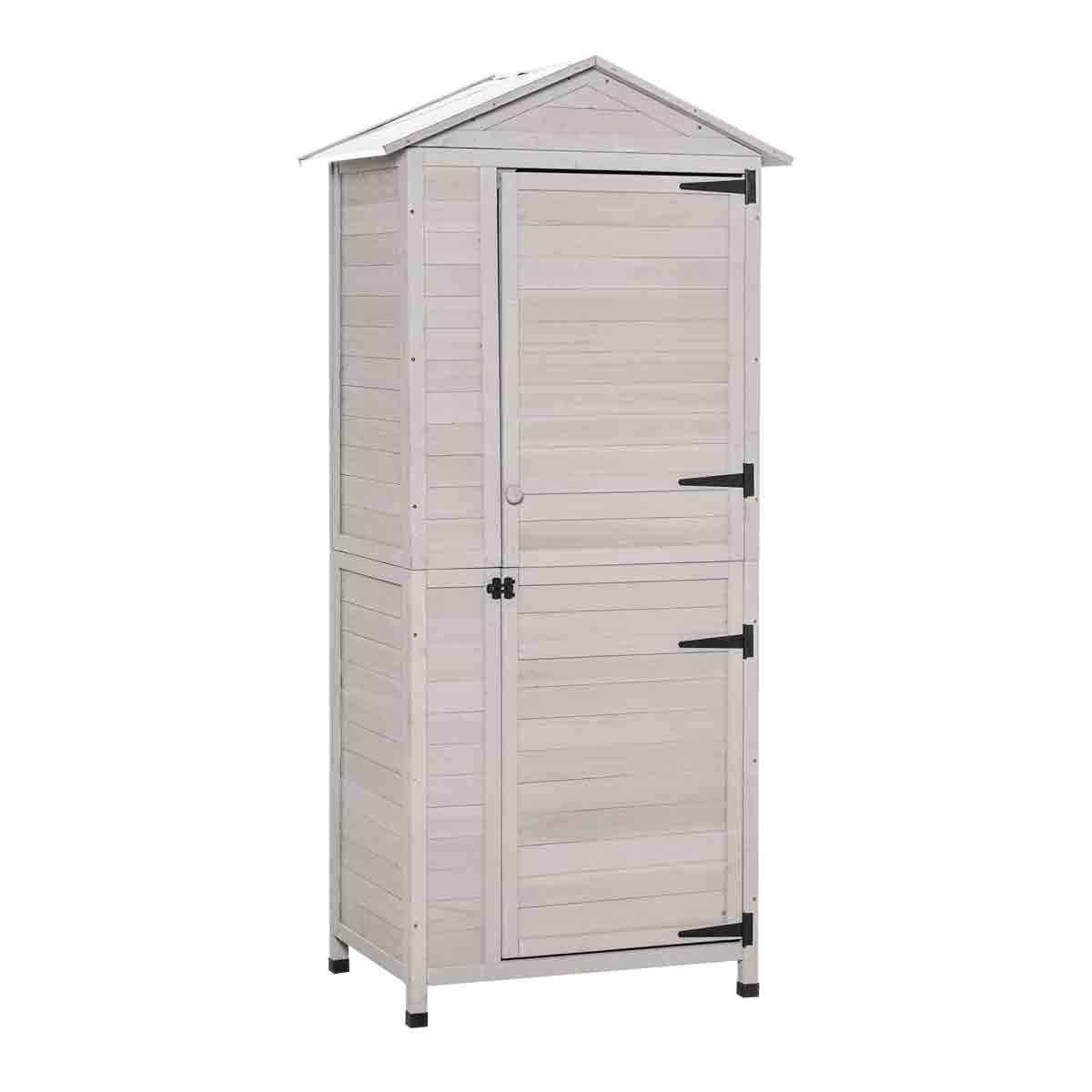 Outsunny 2' 11' x 2' Wooden 4-Tier Garden Storage Cabinet - Light Grey