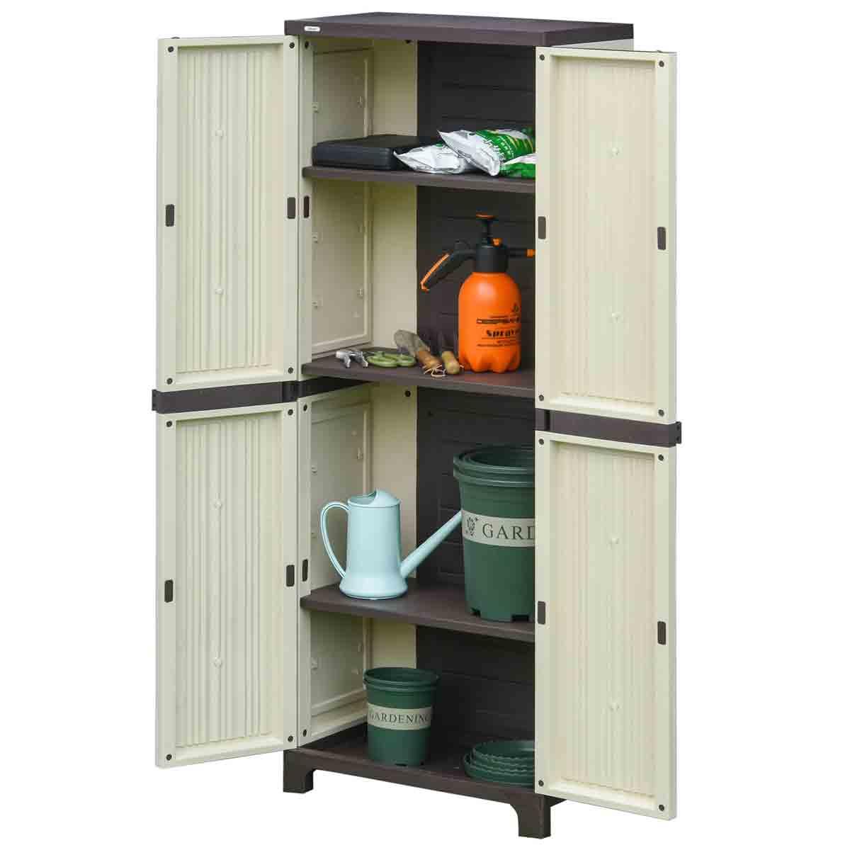 Outsunny 2' 1'' x 1' 2'' Plastic Garden Double Door Storage Cabinet - Cream