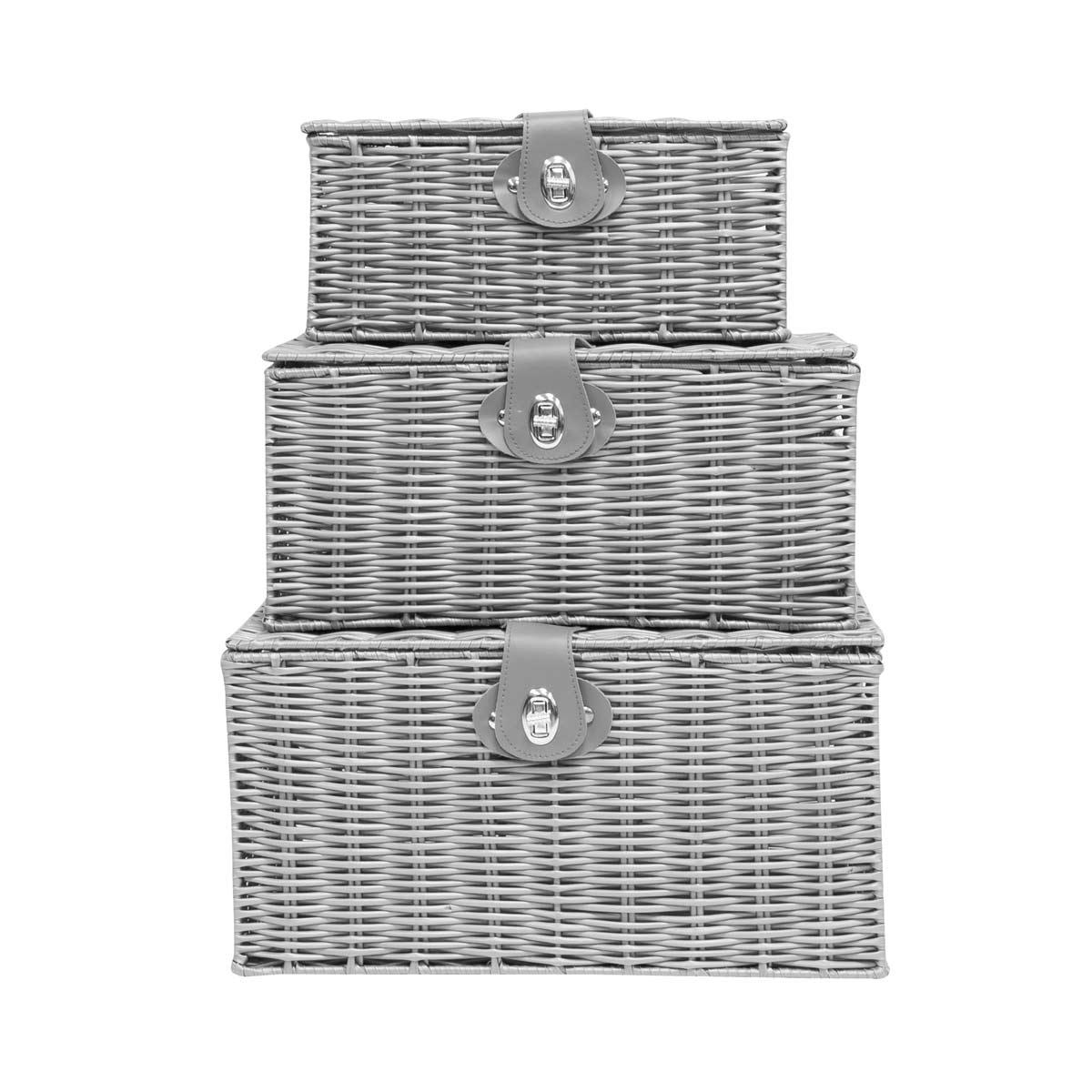 Anika Set of 3 Wicker Storage Box - Grey