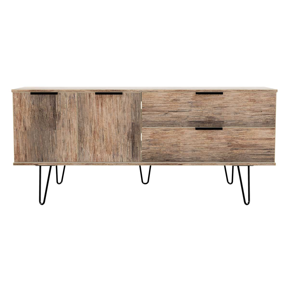 Hirato Ready Assembled Wide Sideboard Vintage Oak Effect With Black Metal Hairpin Legs