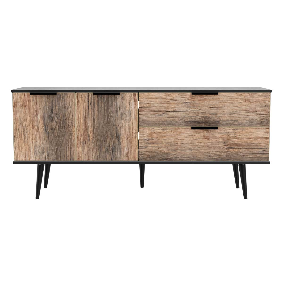 Hirato Ready Assembled Wide Sideboard Vintage Oak Black Wood Legs