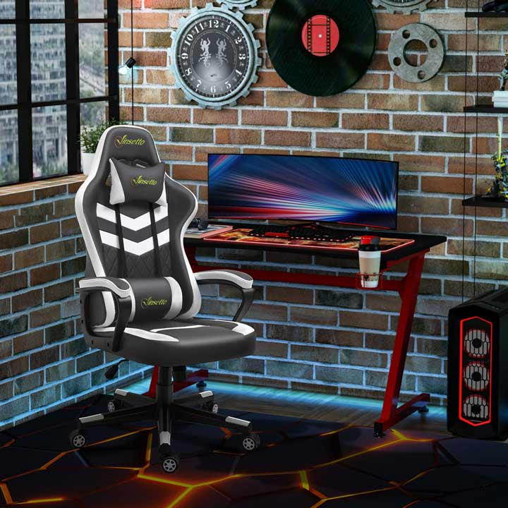 Vinsetto Racing Gaming Chair With Lumbar Support Gamer Office Chair Grey White