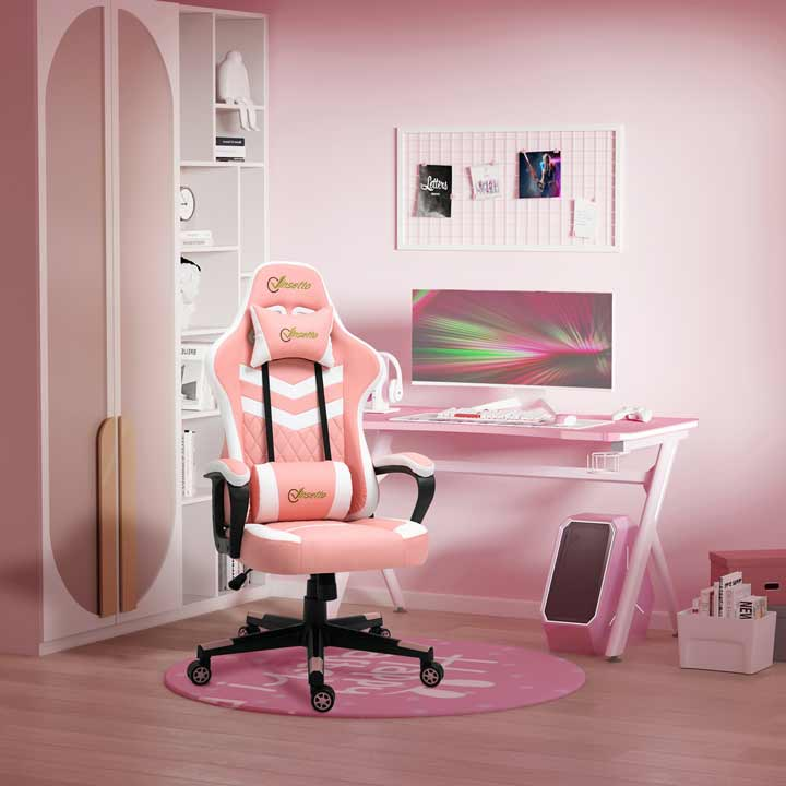 Vinsetto Racing Gaming Chair With Lumbar Support Gamer Office Chair Pink White