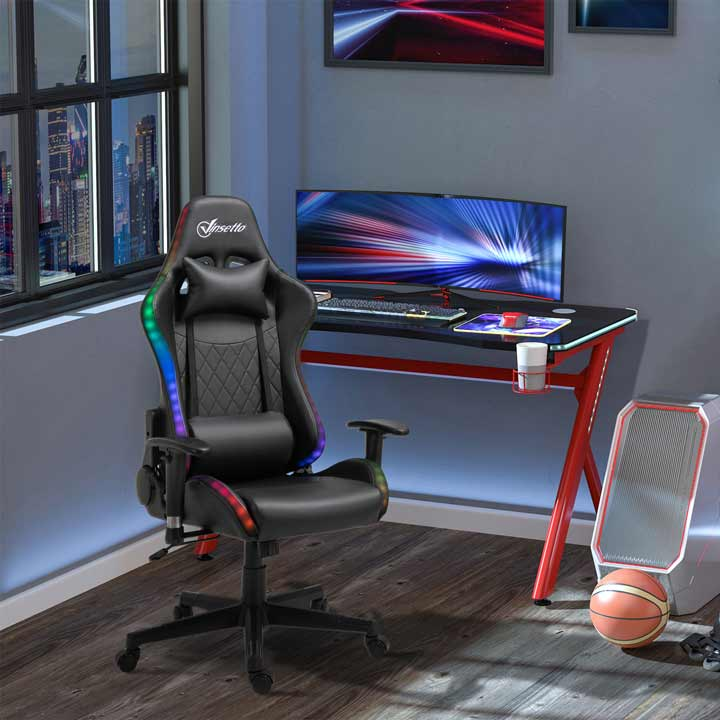Vinsetto Gaming Chair With RGB LED Light Arm Swivel Office Gamer Recliner Black