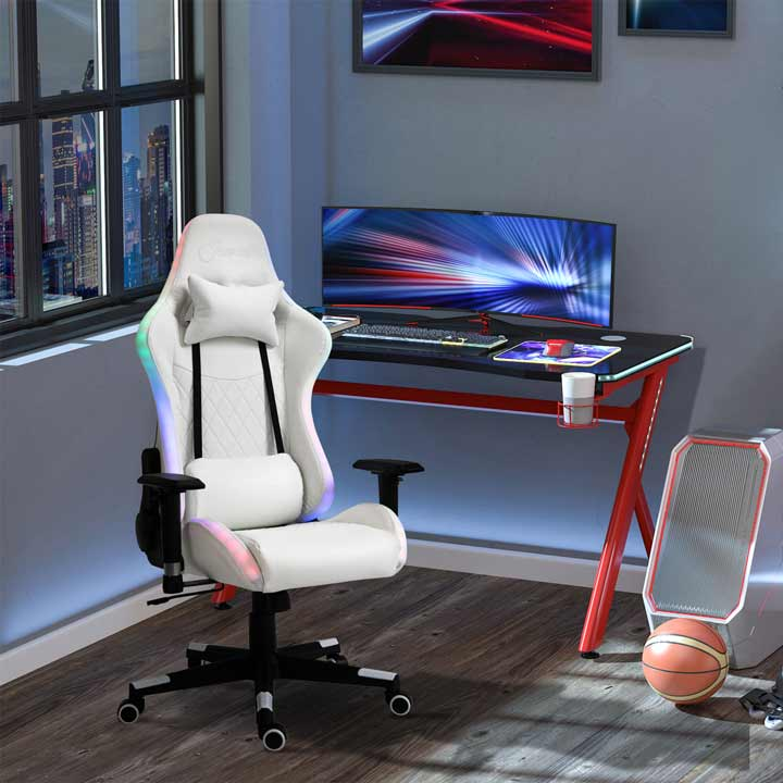Vinsetto Gaming Chair With RGB LED Light Arm Swivel Office Gamer Recliner White