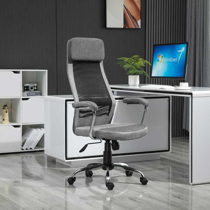 Vinsetto Office Chair Mesh High Back Swivel Task Home Desk Chair With Arm Grey