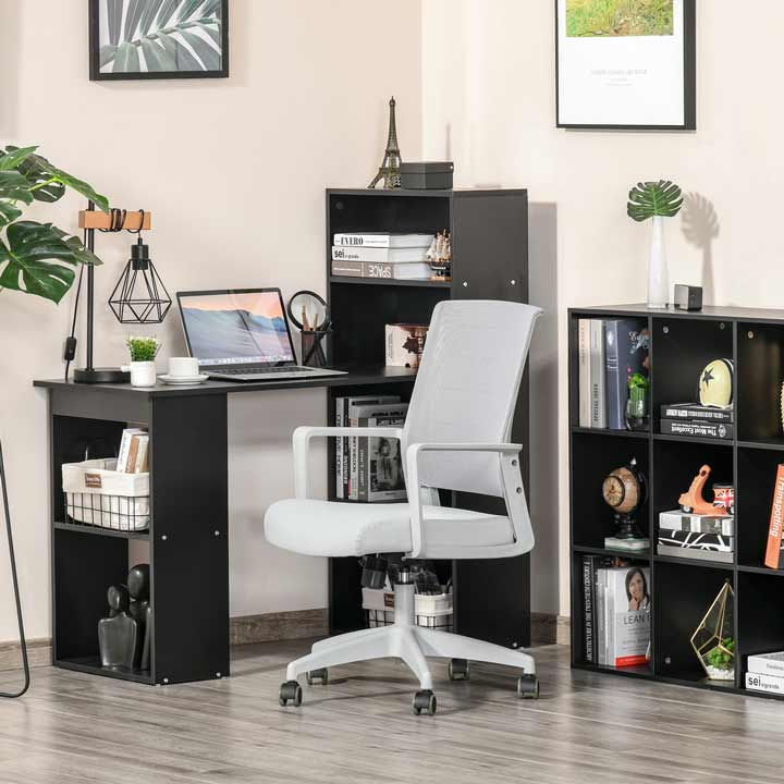 Vinsetto Mesh Home Office Chair Swivel Desk Task With Lumbar Back Support Grey
