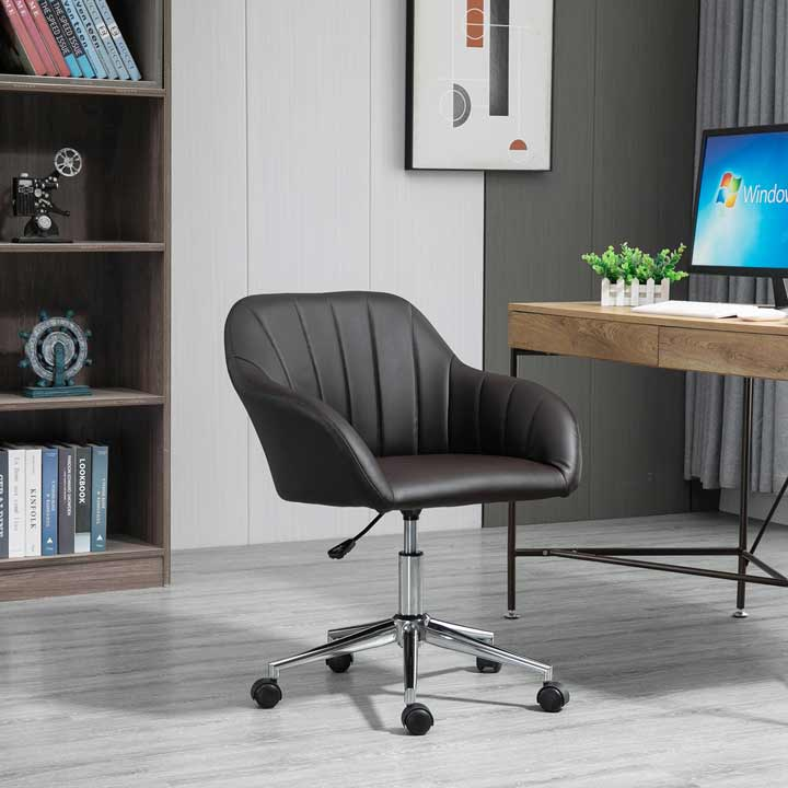 Vinsetto Mid-Back Home Office Chair Faux Leather Tub Swivel Task Armchair Brown