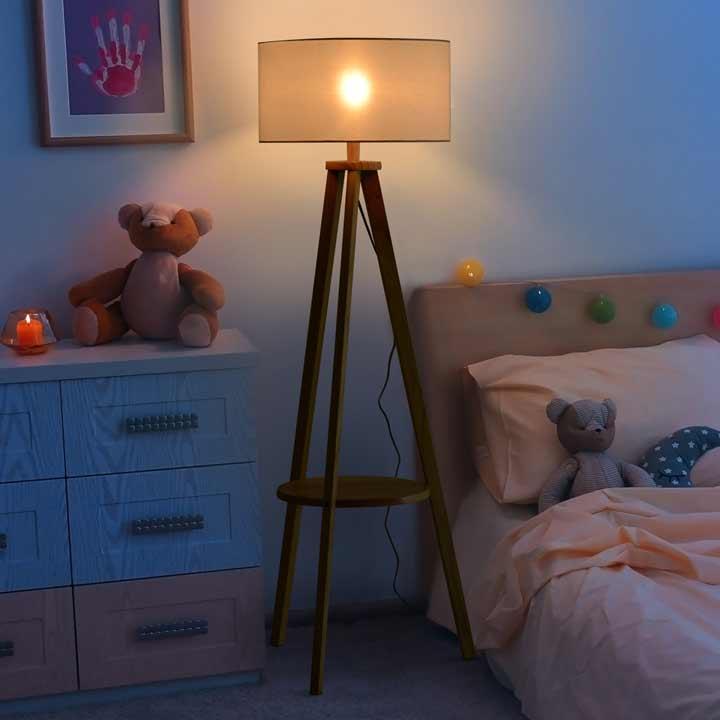 HOMCOM Floor Lamp Bedside Light Free Standing Tripod Holder Storage Shelf Linen